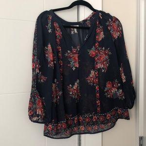 Joie Navy Floral Silk Blouse!
